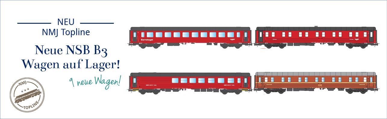 NMJ Topline NSB B3 Personenwagen Jetzt auf Lager. Die Wagen werden in folgenden Versionen geliefert - NSB WLAB Schlafwagen, rot/schwarz und rot/braun Design (NMJ 101.103, 101.104, 101.303 og 101.304), NSB CB3 og BC3 Kinderwagen (NMJT 106.304, 101.305 og 106.306), NSB FR3-2 Bistro und NSB Meny Café.
