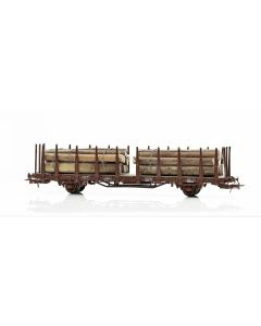 Topline Godsvogner, NMJ Topline model of the SJ Kbps 21 74 370 4 402-2 stake carwith timber load in real wood. , NMJT602.301