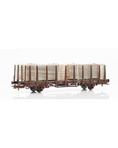 Topline Godsvogner, NMJ Topline model of the SJ Kbps 21 74 335 4 410-1 stake car with wooden planks., NMJT602.302