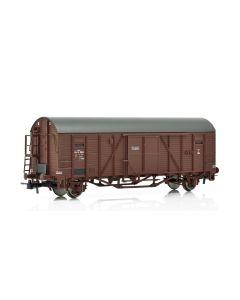 Topline Godsvogner, NMJ Topline model of the Halmstad - Nässjö-Järnvägar (HNJ) G 1624 closed freight wagon with end wall doors and high short platform. , NMJT604.504