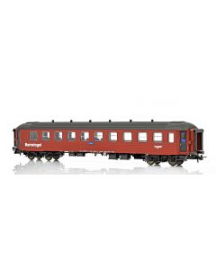 """Topline Personvogner, NMJ Topline model of the NSB CB3 Type 2 21235 Childrens coach """"Barnetoget"""" with family seating areas in the red/black livery., NMJT132.305"""