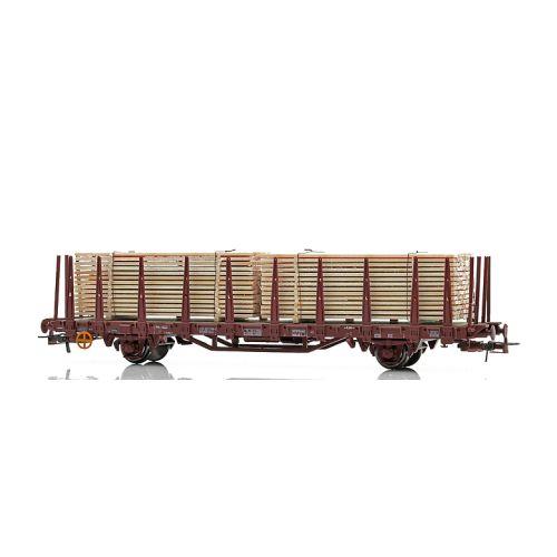 Topline Godsvogner, NMJ Topline modell av NSB Kbps 21 76 335 3 741-0 stakevogn med trelast., NMJT502.303